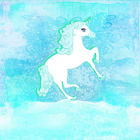 Illustration of beautiful blue Unicorn.  illustration