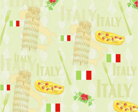 Italy travel seamless pattern with national italian food, sights, map and flag Vector