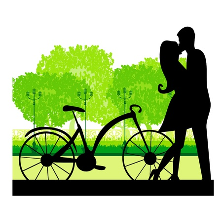 sillhouette of sweet young couple in love standing in the park Vector