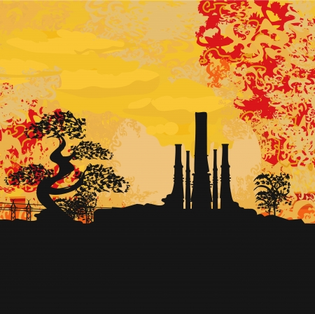 emission:  Smoking factory with tree at sunset or sunrise