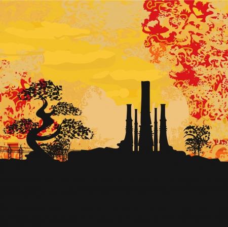 hellish:  Smoking factory with tree at sunset or sunrise