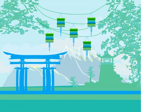 style:  Decorative Chinese landscape Illustration