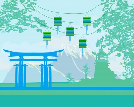 sky lantern:  Decorative Chinese landscape Illustration