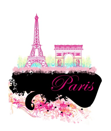 parisian:  Eiffel tower artistic background  illustration   Illustration