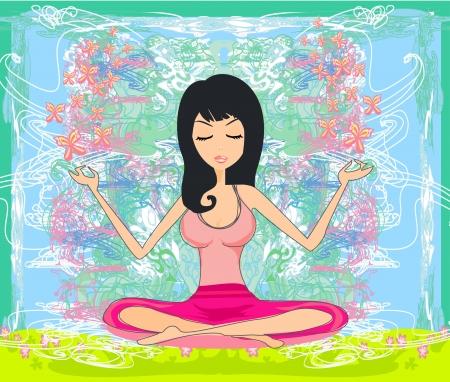Yoga girl in position Stock Vector - 17133505
