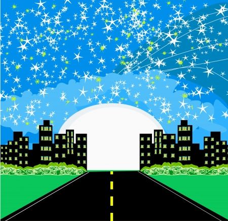 Highway to city with large moon  Stock Vector - 17192526