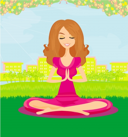 breathing exercise:  Woman doing yoga in the park