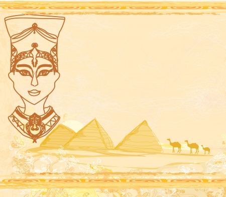 old paper with Egyptian queen Stock Vector - 17192537