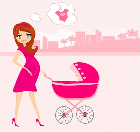 beautiful pregnant woman pushing a stroller Stock Vector - 17192529