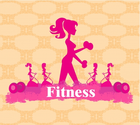 Abstract fitness girl training - poster background Vector