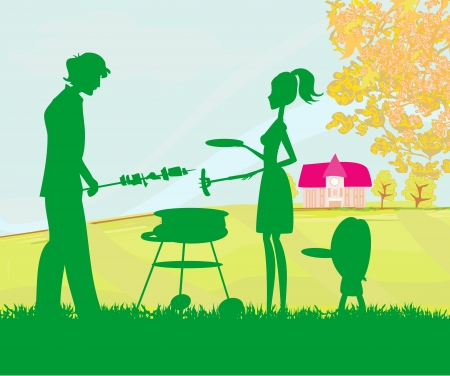 illustration of a family having a picnic in a park  Vector