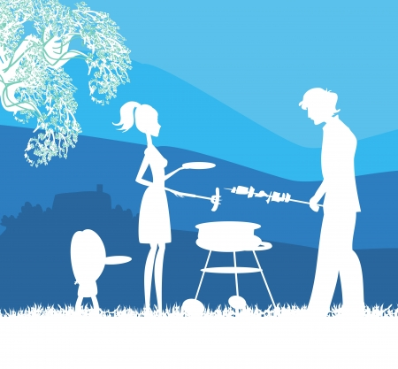 Happy family with barbecue outdoors Stock Vector - 17224874