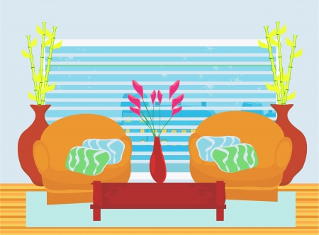 Fashionable interior of living room Stock Vector - 17224847