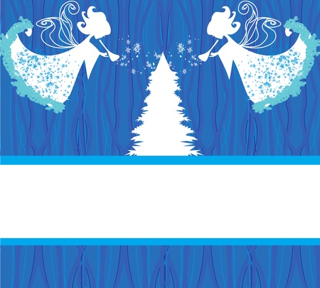Abstract Christmas card with angels Stock Vector - 17245311