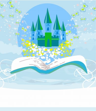 Magic world of tales, fairy castle appearing from the book Stock Vector - 17245306
