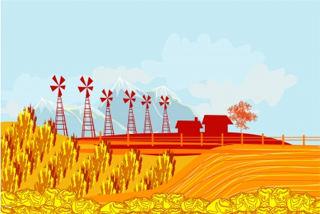 Eco farming - landscapes  Stock Vector - 17245302