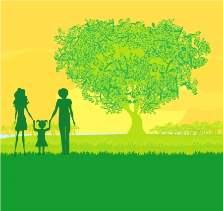 Happy family walks on nature, sunset  Stock Vector - 17245305