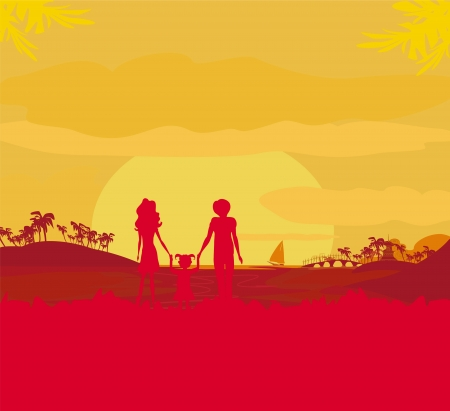 Family silhouette over tropical background  Stock Vector - 17245300