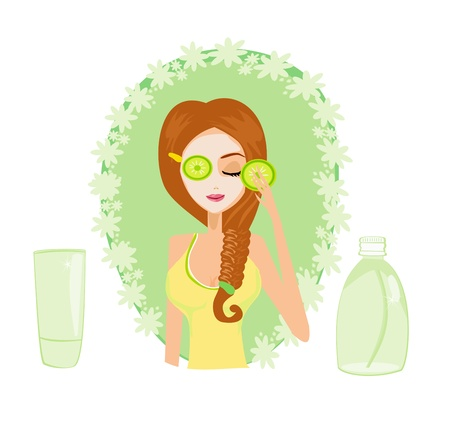 Cute woman applying moisturizer vector illustration  Stock Vector - 17245301