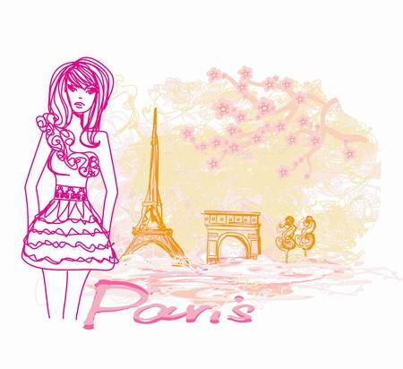 shoptalk:  beautiful women Shopping in Paris - vector card  Illustration