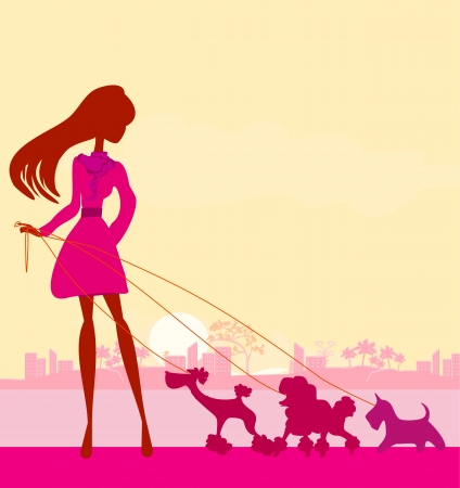 Pretty girl walking the dogs  Stock Vector - 17274453