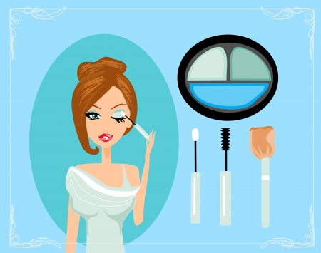 Makeup.Make-up.Eyes hadows. Eye shadow brush  Vector