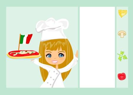 sweet girl serving pizza Stock Vector - 17274460