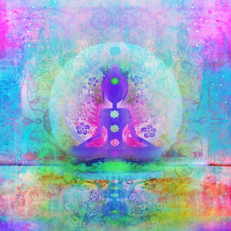 aura:  Yoga lotus pose. Padmasana with colored chakra points.  Stock Photo