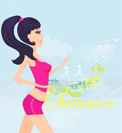 Jogging girl in summer poster Vector