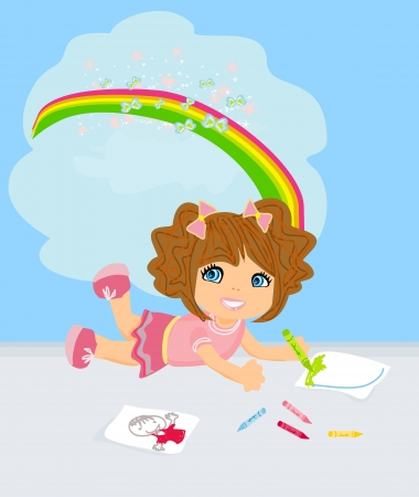 A girl drawing a rainbow, thinking about her work. Stock Vector - 17317220