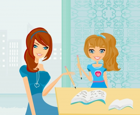 schoolwork: Mom helping her daughter with homework or schoolwork at home.