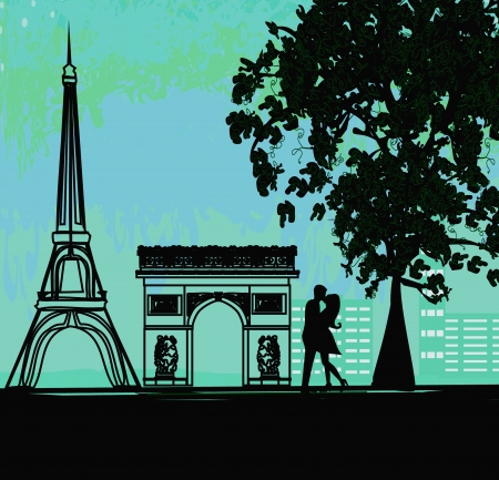 Romantic couple in Paris kissing near the Eiffel Tower Stock Vector - 17317243