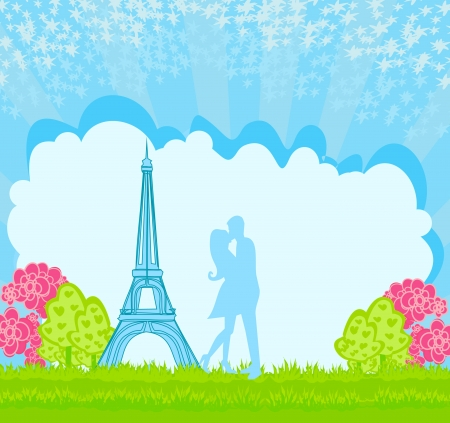 Romantic couple in Paris kissing near the Eiffel Tower Stock Vector - 17317235
