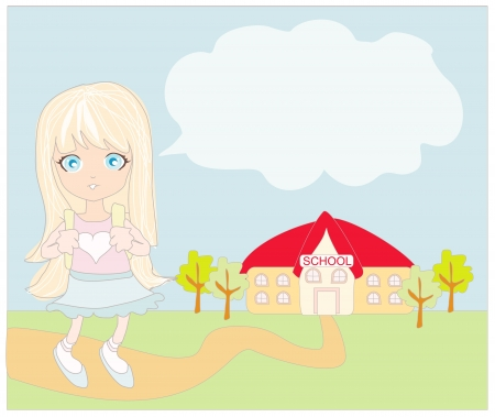 exited:  girl going to school  Illustration