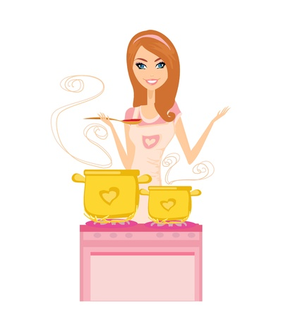 Beautiful lady cooking soup Stock Vector - 17317231