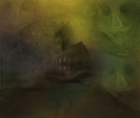 grungy Halloween background with haunted house  Stock Photo - 17377316