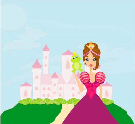 popular tale:  Beautiful young princess holding a big green frog