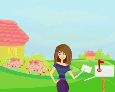 Beautiful woman with a mailbox Stock Vector - 17377319