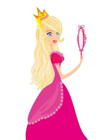 queen s:  Young blond hair princess with mirror in her hands  Illustration