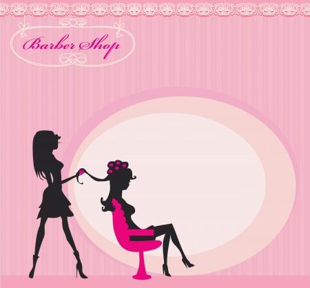 Illustration der schönen Frau im Friseursalon