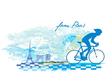Cycling in Paris - Grunge Poster Stock Vector - 17414537