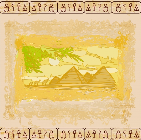 old paper with pyramids giza  Stock Vector - 17414549