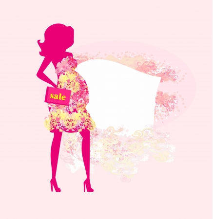 Beautiful pregnant woman on shopping for her new baby- abstract  Illustration