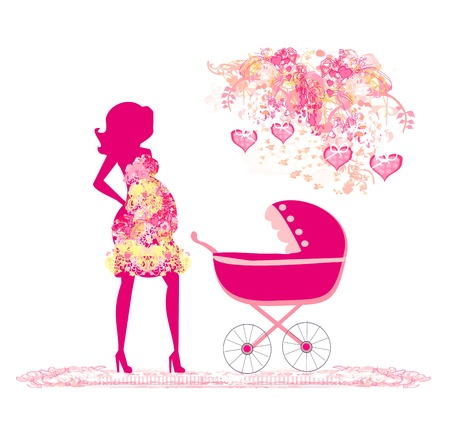 mother with baby stroller  Vector