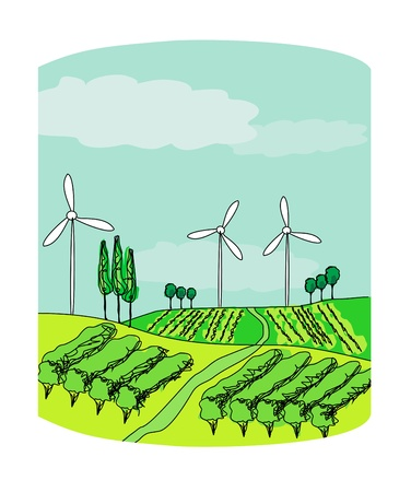 Wind power on a green meadow  Stock Vector - 17414543
