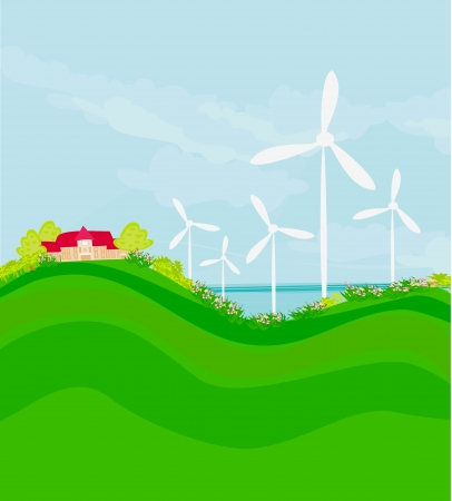 Ecology background with turbine and sky  Vector