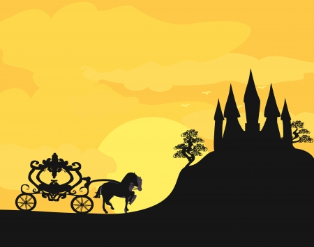 castle silhouette: Carriage at sunset. Silhouette of a horse carriage and a medieval castle