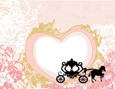 Vintage carriage design - floral  background  Vector