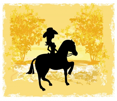 Silhouette of Cowgirl and Horse - grunge background  Vector