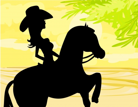 saddle:  Silhouette of Cowgirl and Horse